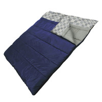 Wenzel Ozzy & Harriet 40 degree sleeping bag, blue, zipped together laying flat with the corner partially folded over showing the gray and white plaid and gray interior of the sleeping bag