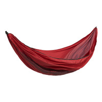 Wenzel Lightweight Double Hammock, red, setup showing the red striped interior of the hammock