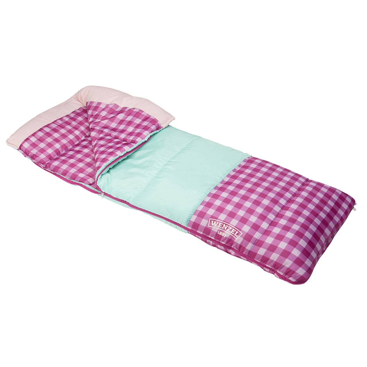 Wenzel Sapling Youth Sleeping Bag, pink, shown partially unzipped, side angle view