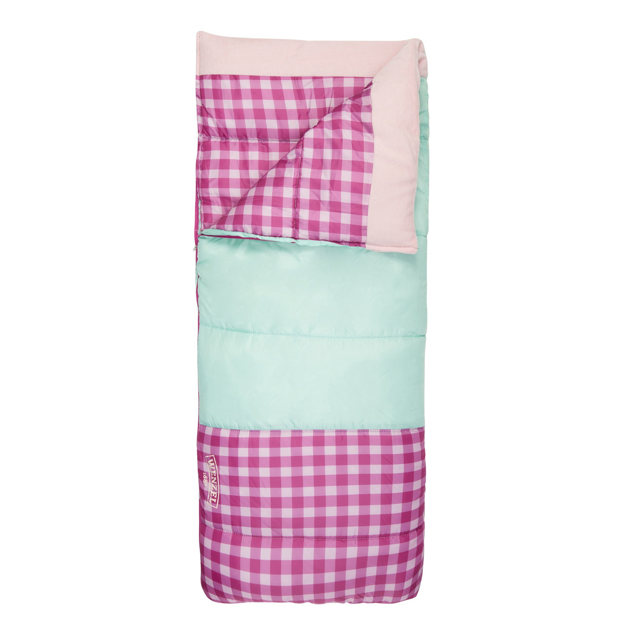 Wenzel Sapling Youth Sleeping Bag, pink, shown partially unzipped