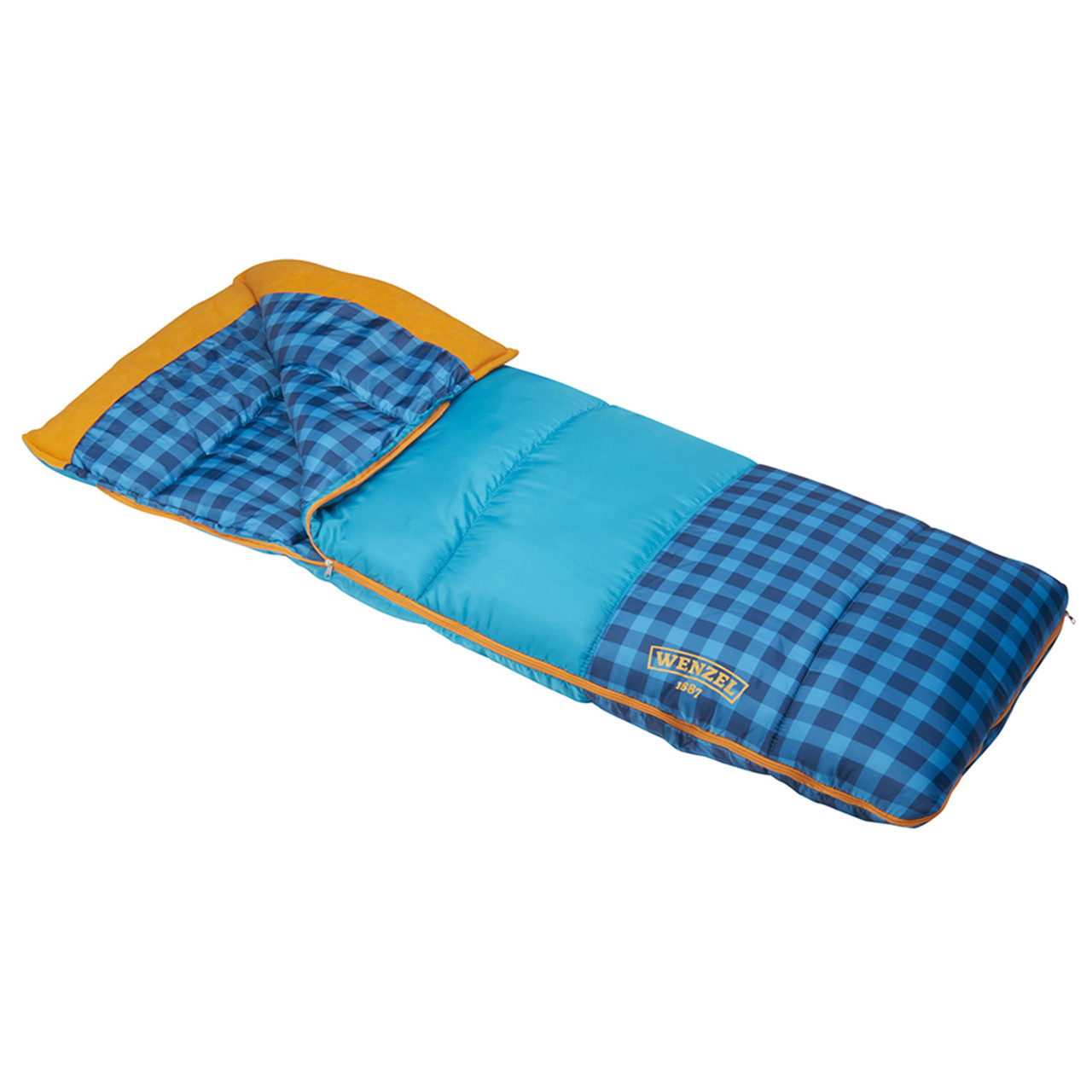 Wenzel Sapling Youth Sleeping Bag, blue, shown partially unzipped, side angle view