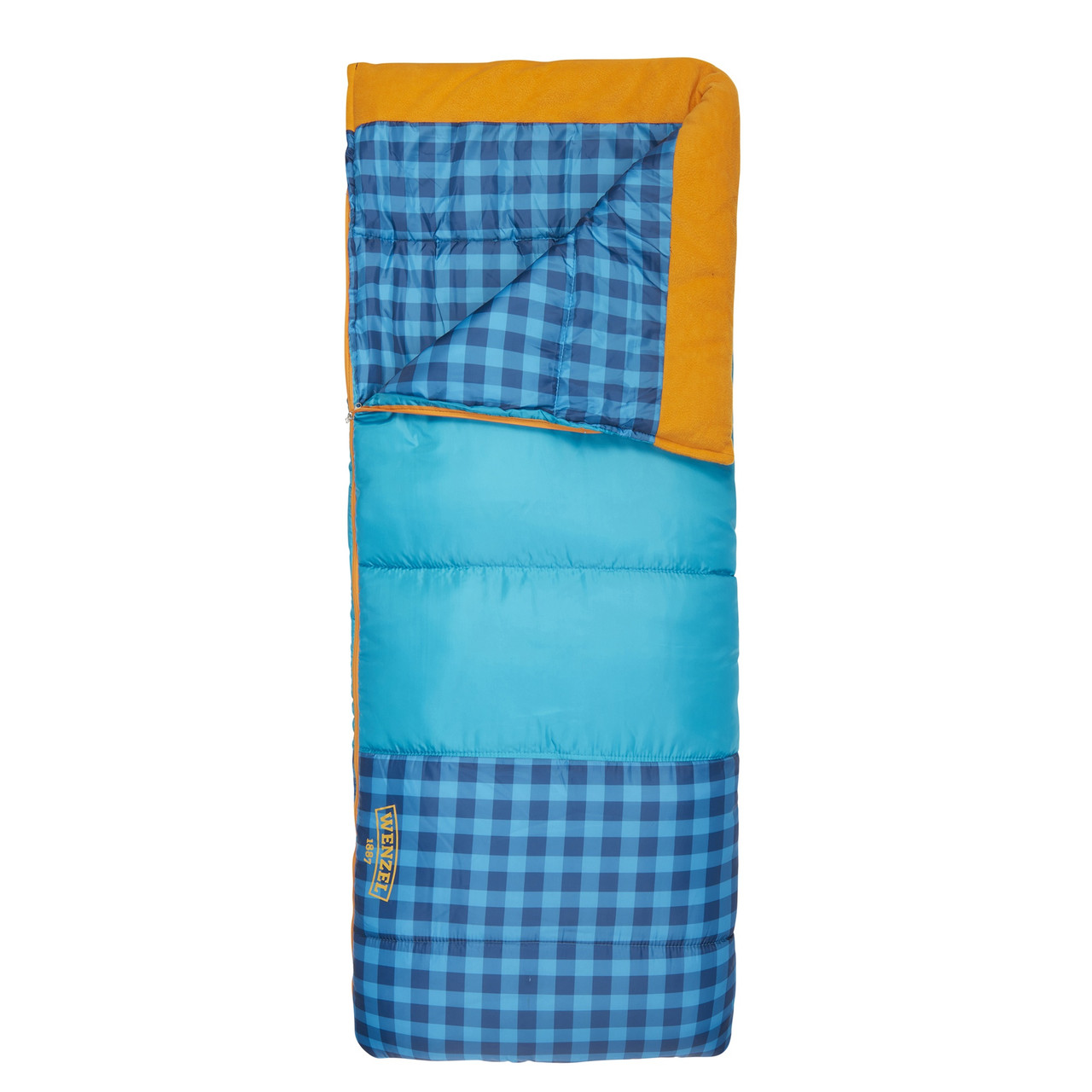 Wenzel Sapling Youth Sleeping Bag, blue, shown partially unzipped