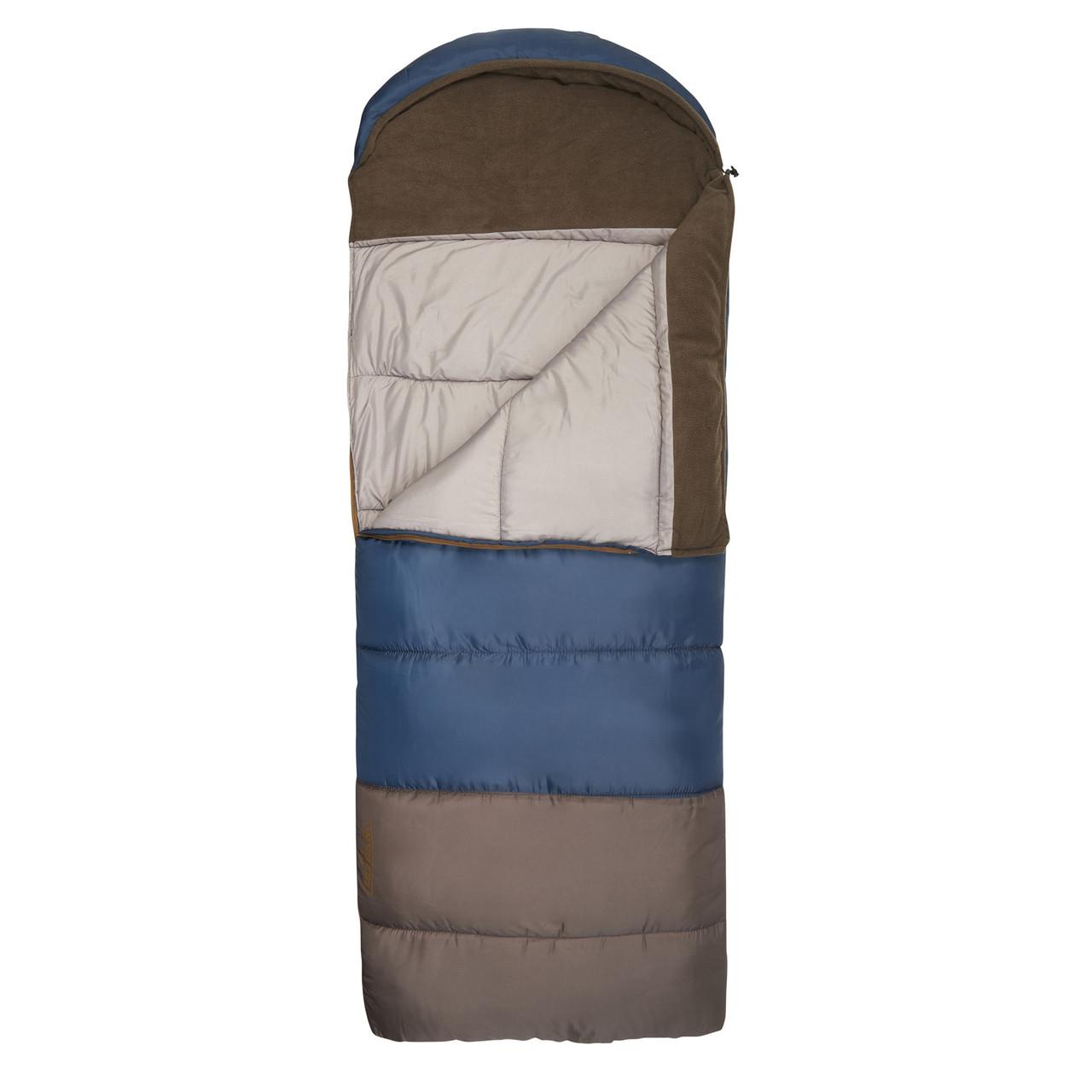 Wenzel Monterey Sleeping Bag, blue, shown partially unzipped