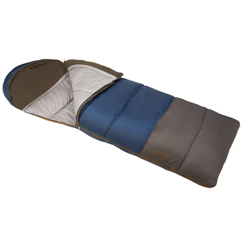 Wenzel Monterey Sleeping Bag, blue, shown partially unzipped, front angle view