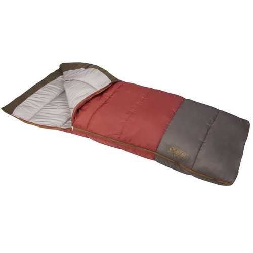 Wenzel Lodgepole Sleeping Bag, red, shown partially unzipped, front angle view