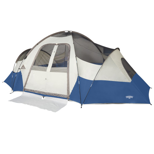 Wenzel Pinyon 10 Person Dome Tent, blue/white, front view, no fly