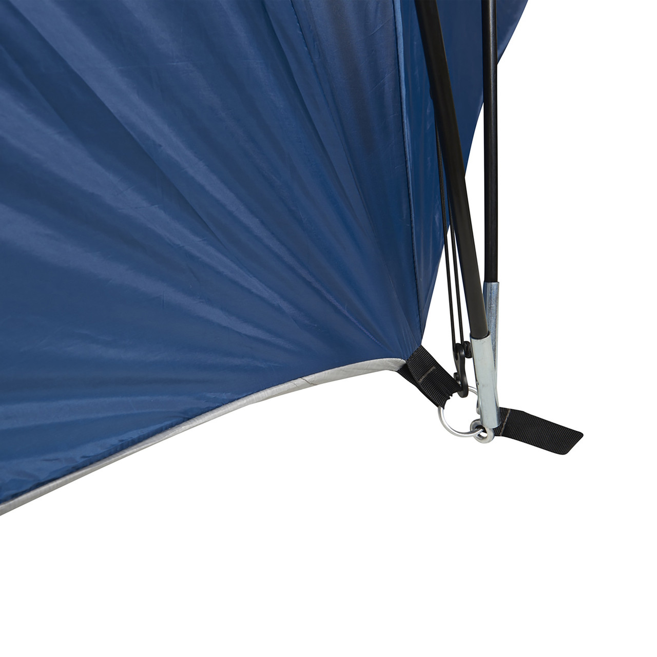 Wenzel Pinyon 10 Person Dome Tent, blue/white, showing tent pole inserted into lower corner of tent