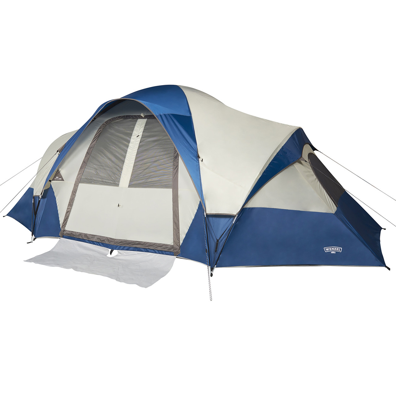 Wenzel Pinyon 10 Person Dome Tent, blue/white, front view, fly attached