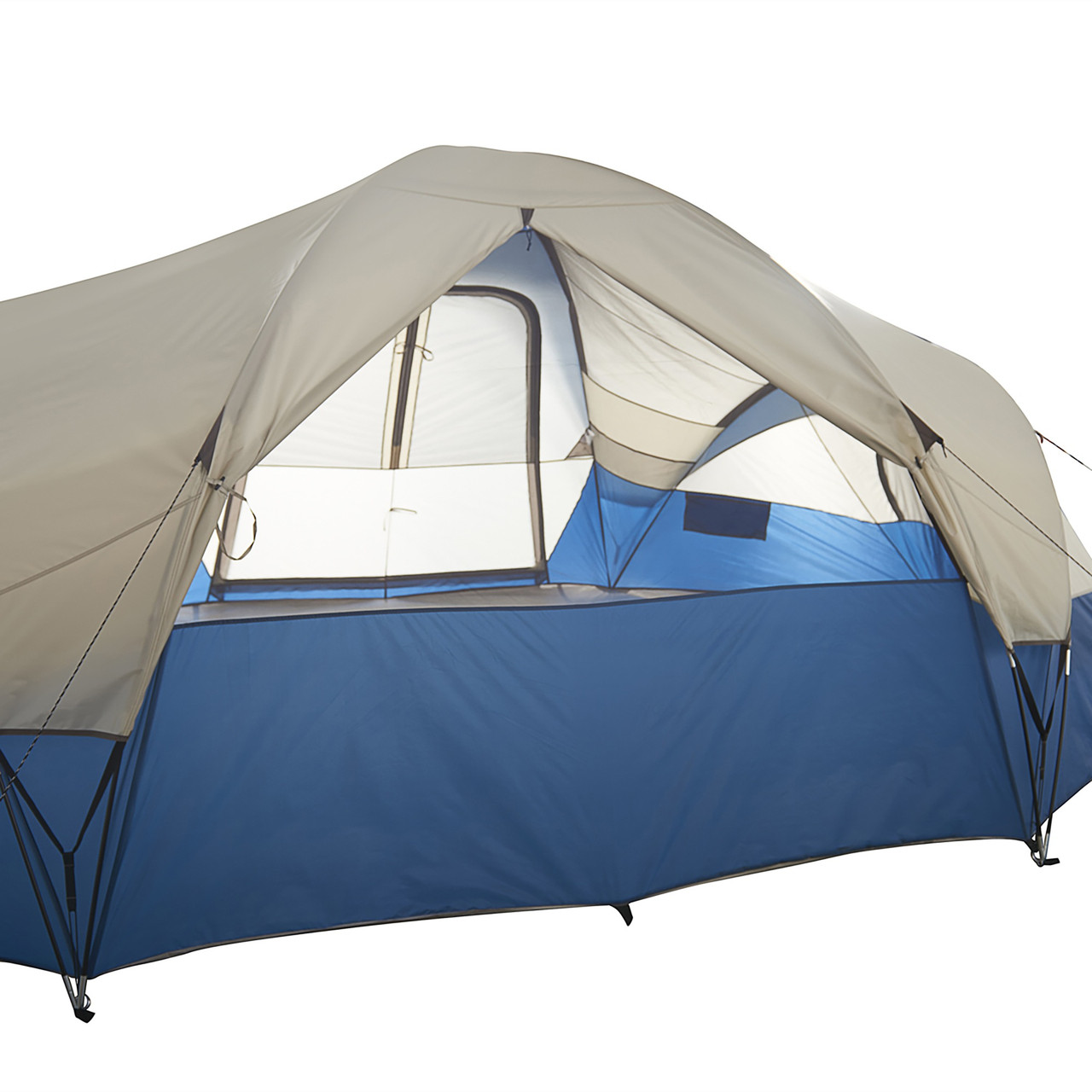 Wenzel Pinyon 10 Person Dome Tent, blue/white, showing rear window, opened