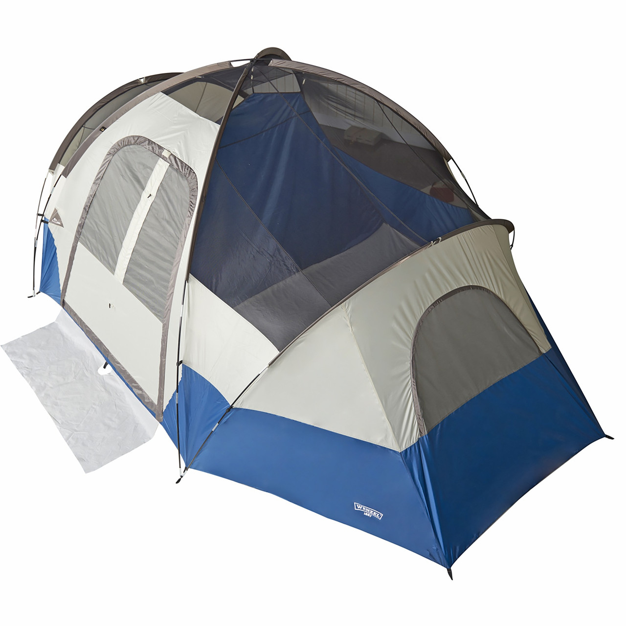 Wenzel Pinyon 10 Person Dome Tent, blue/white, front view, no fly, top view