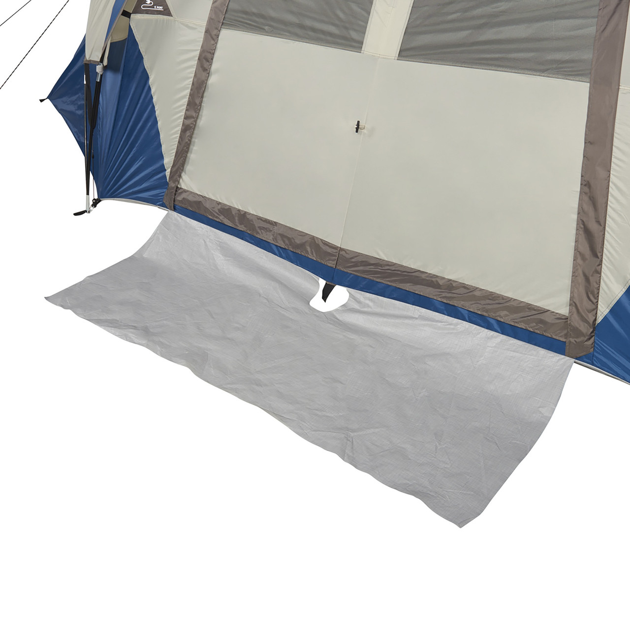 Wenzel Pinyon 10 Person Dome Tent, blue/white, showing floor mat