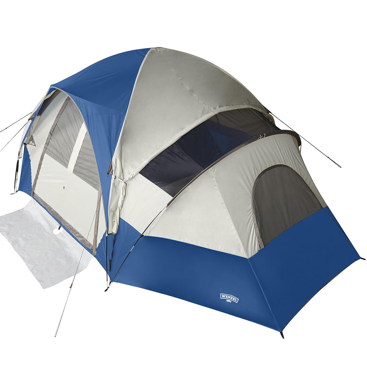 Wenzel Pinyon 10 Person Dome Tent, blue/white, front view, with fly, top view