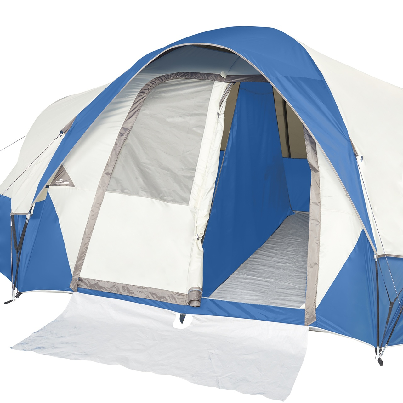 Wenzel Pinyon 10 Person Dome Tent, blue/white, showing front door