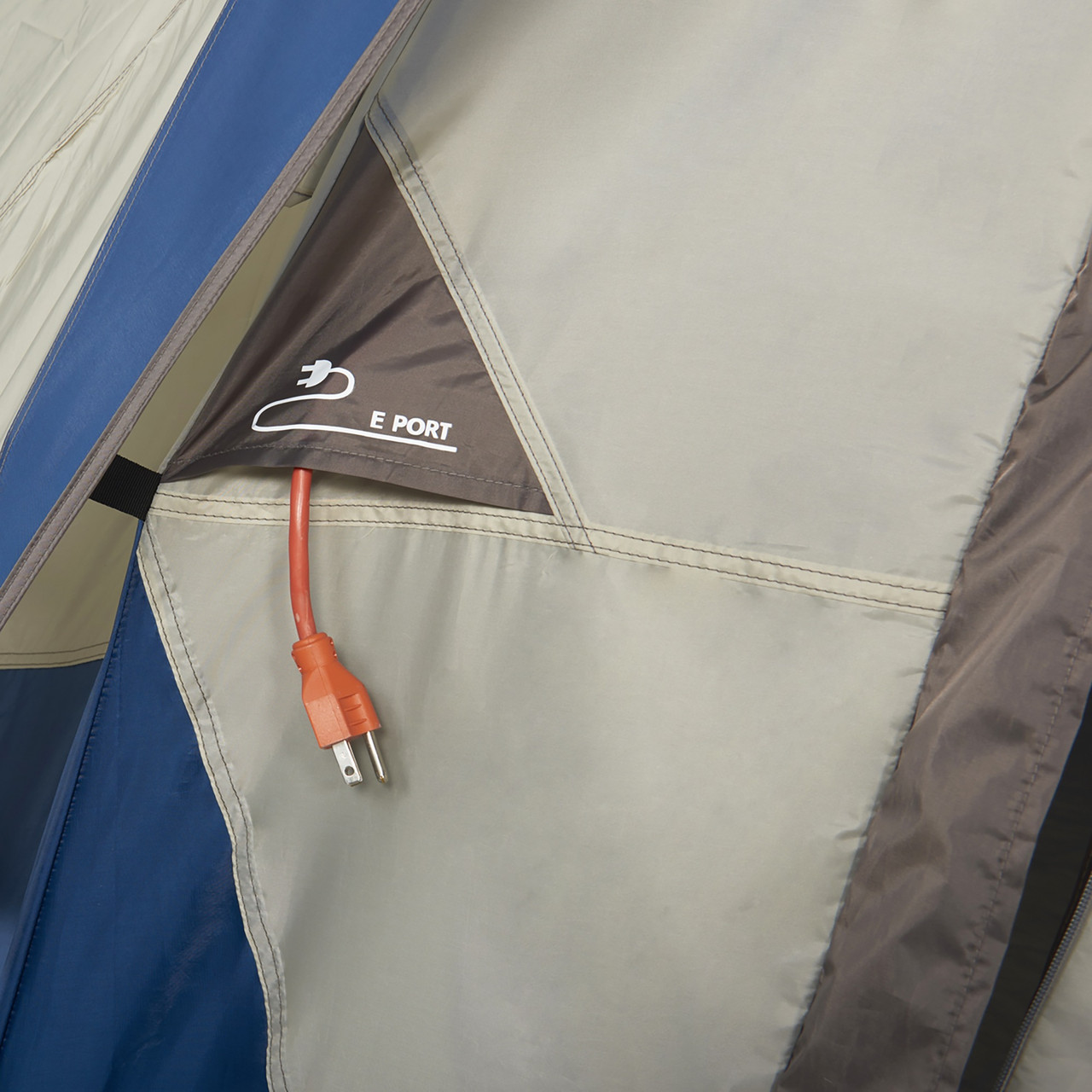 Interior of Wenzel Pinyon 10 Person Dome Tent, blue/white, showing port for cords