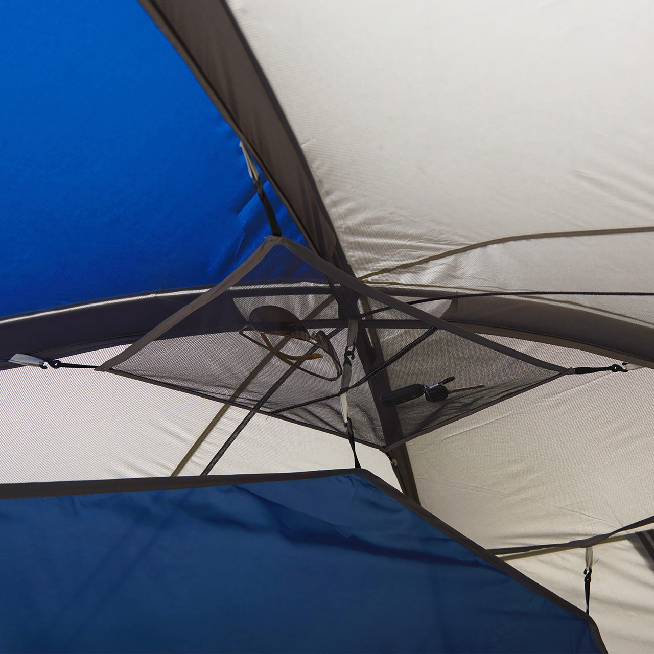 Interior of Wenzel Pinyon 10 Person Dome Tent, blue/white, showing gear loft
