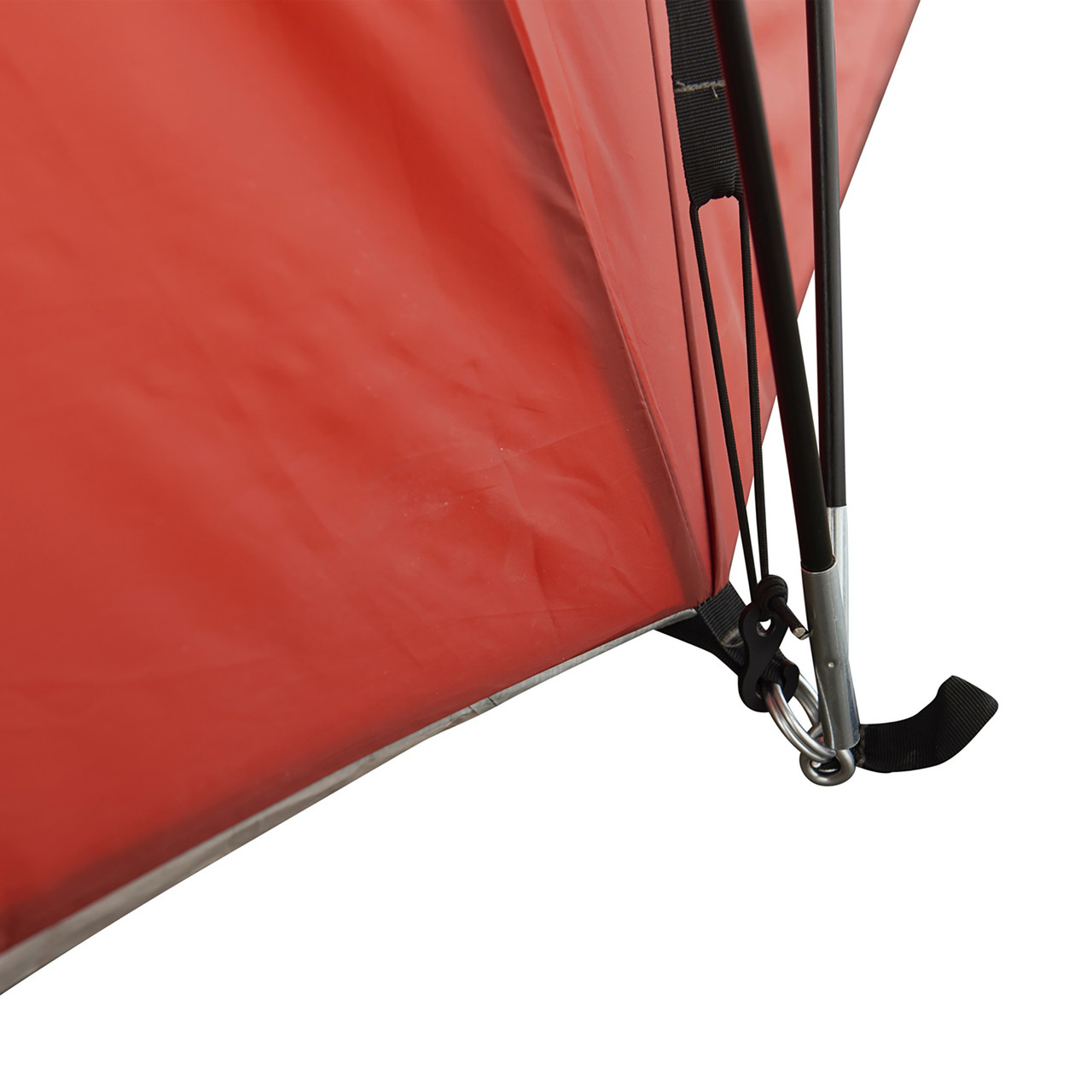 Close up of Wenzel Bristlecone 8 Person Dome Tent, showing end of tent pole inserted into attachment point at lower corner of tent