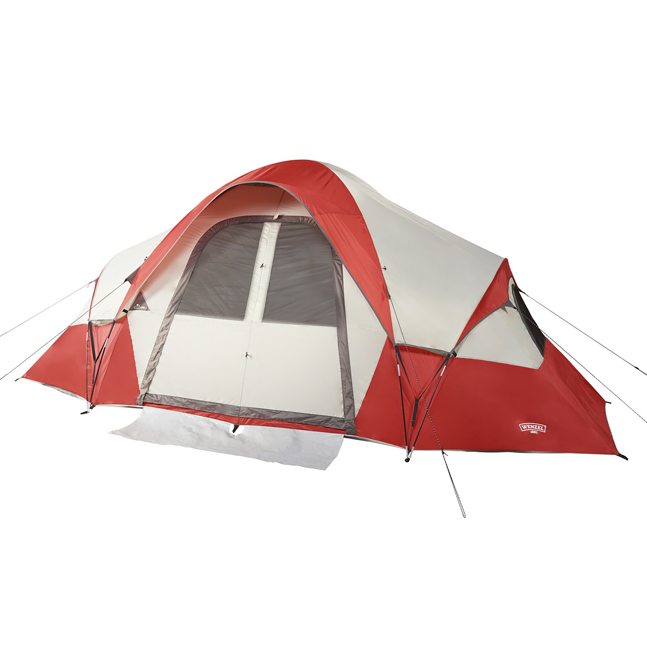 Wenzel Bristlecone 8 Person Dome Tent, red/white, shown with fly attached