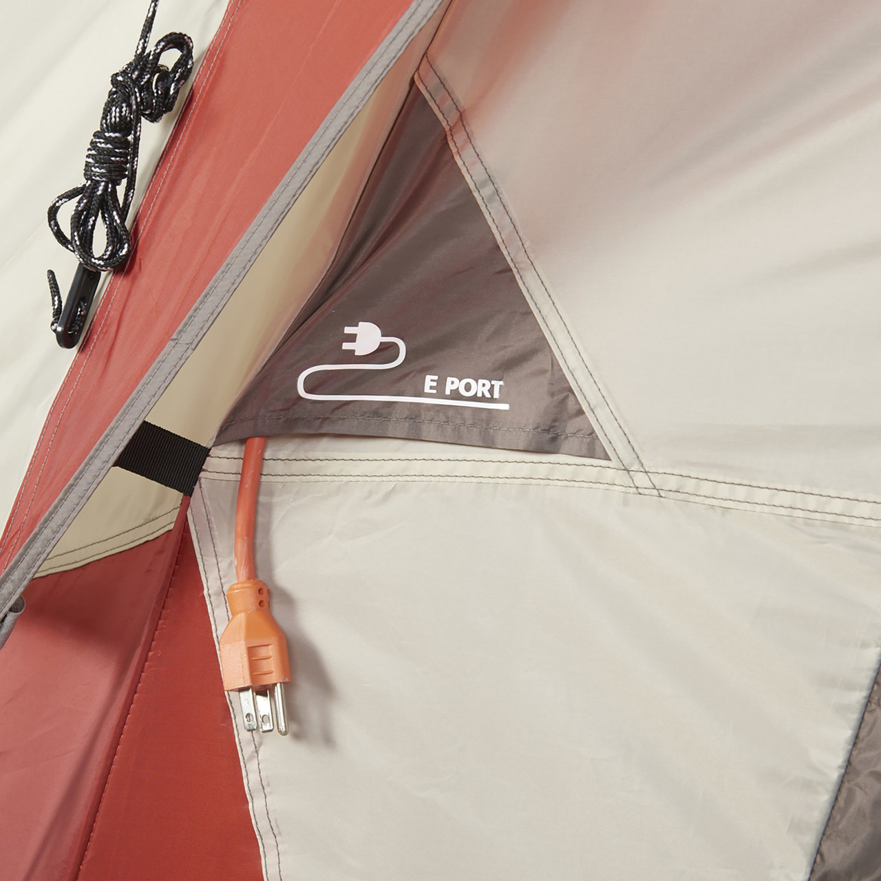 Interior close up of Wenzel Bristlecone 8 Person Dome Tent, showing port for cords