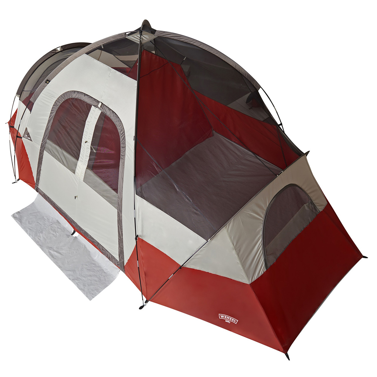 Wenzel Bristlecone 8 Person Dome Tent, red/white, top view, fly off