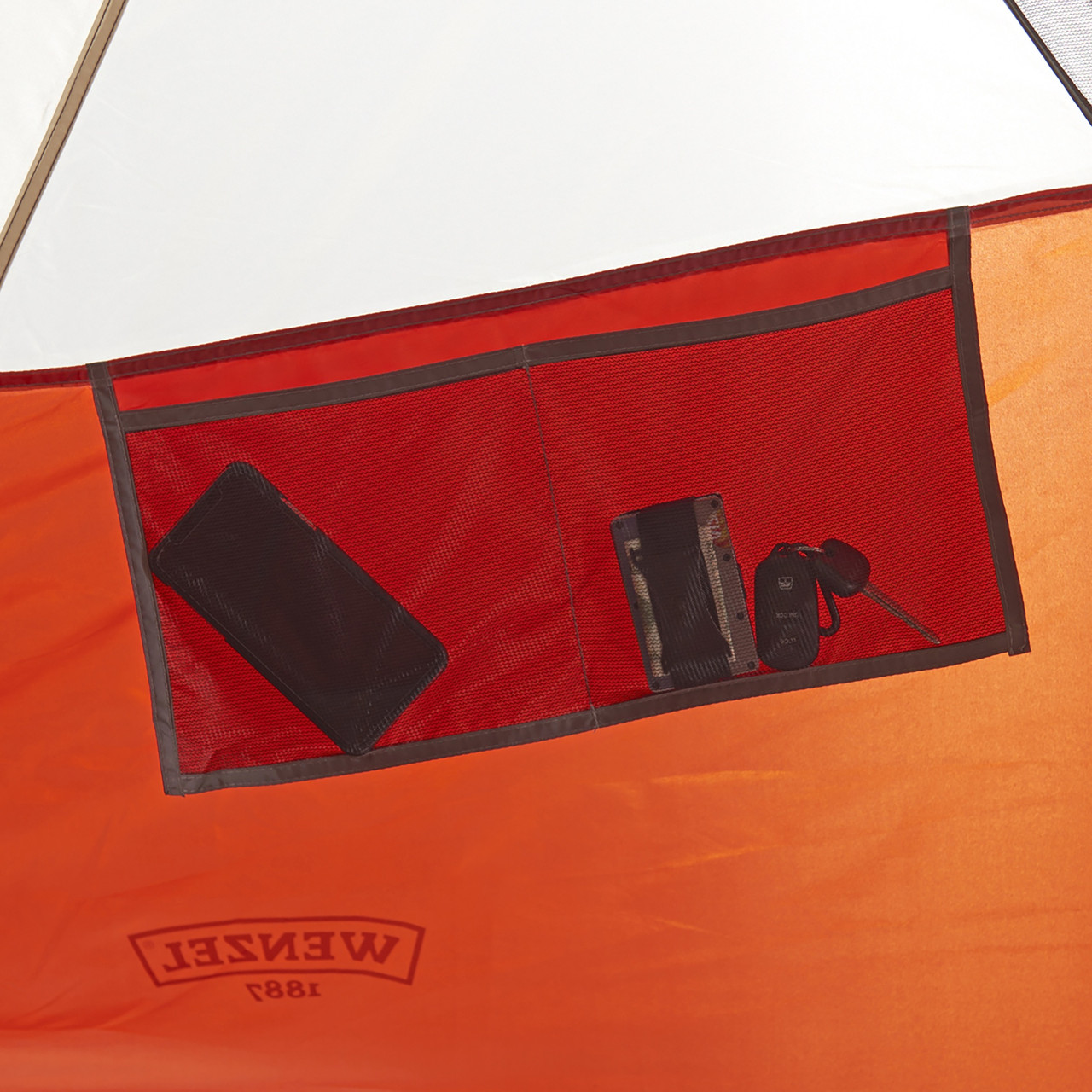 Interior close up of Wenzel Bristlecone 8 Person Dome Tent, showing hanging mesh pocket