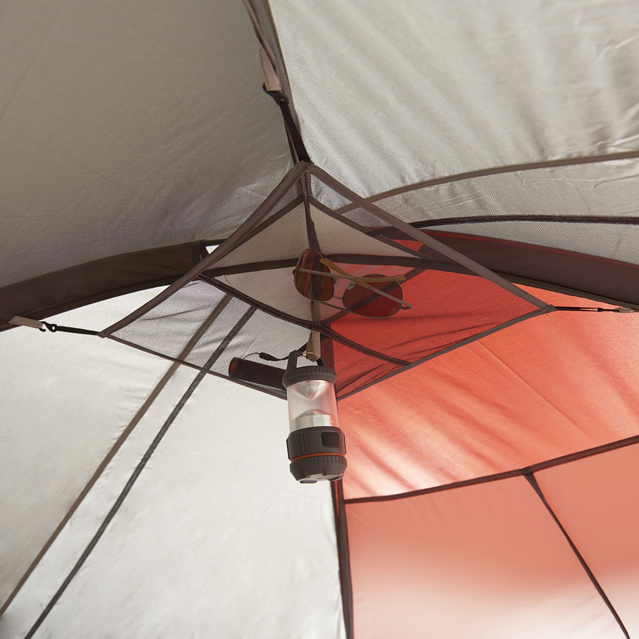 Interior close up of Wenzel Bristlecone 8 Person Dome Tent, showing gear loft