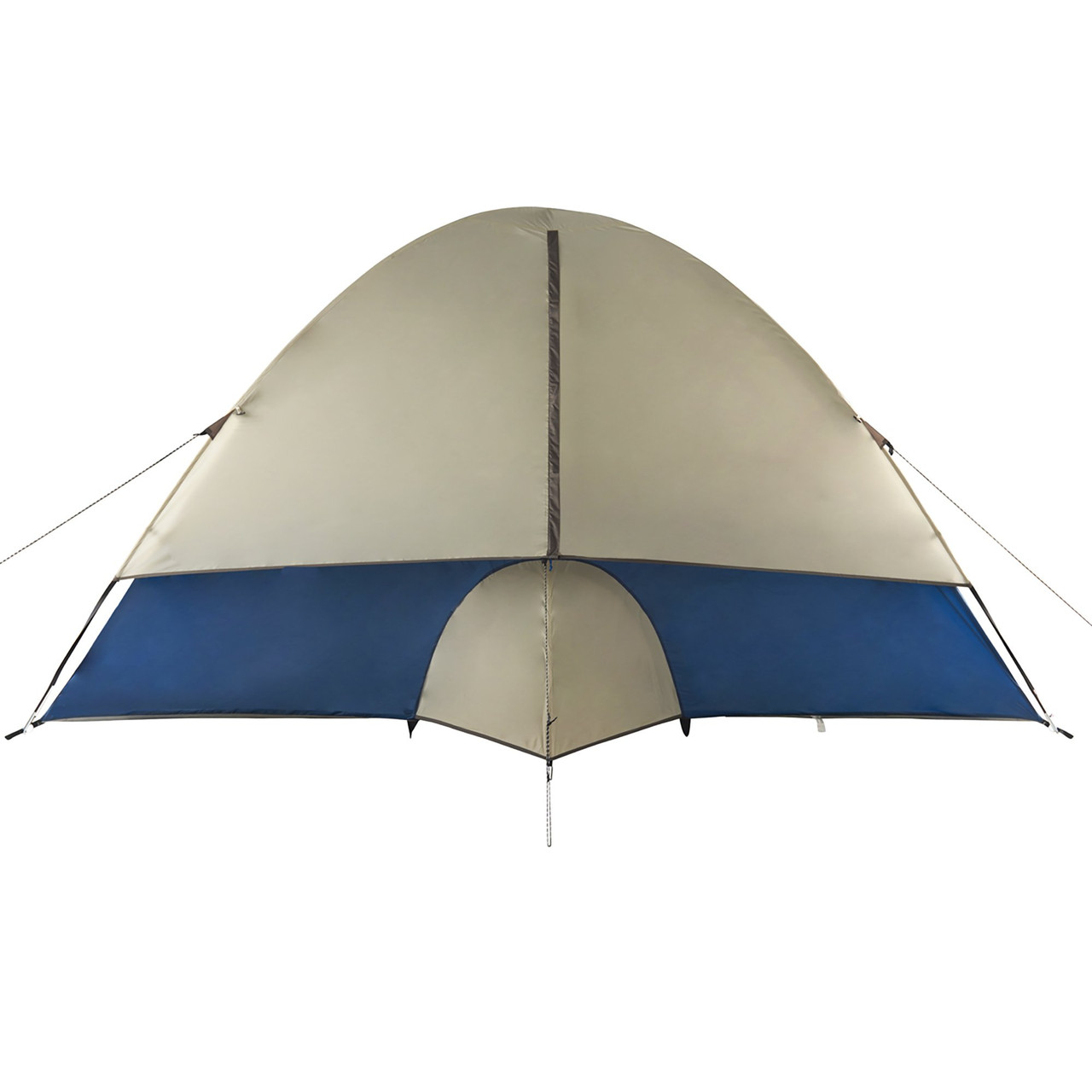 Wenzel Tamarack 6 Person Dome Tent, blue/white, rear view, with window fully closed