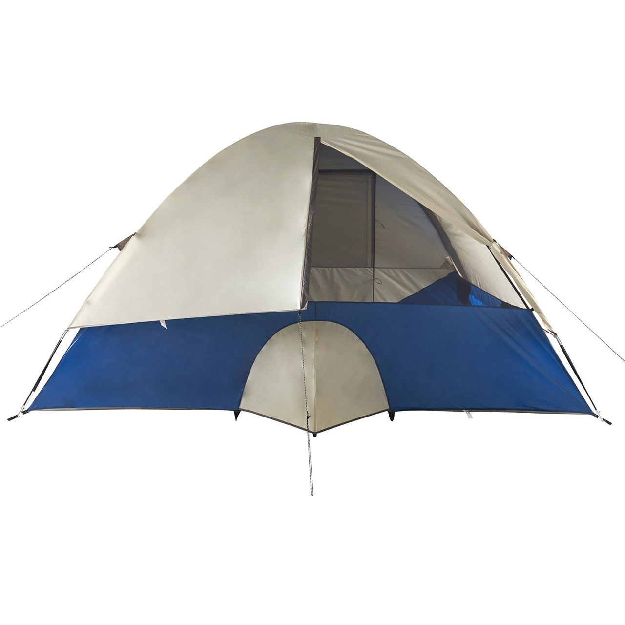 Wenzel Tamarack 6 Person Dome Tent, blue/white, rear view, with window partially closed