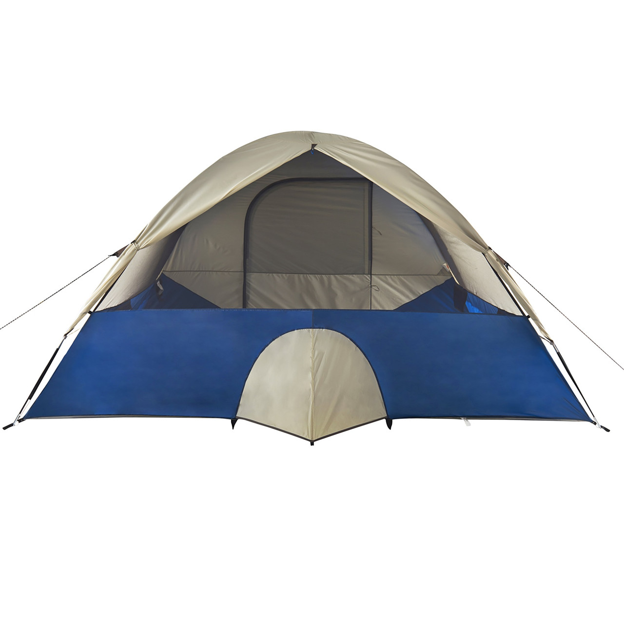 Wenzel Tamarack 6 Person Dome Tent, blue/white, rear view, with window opened