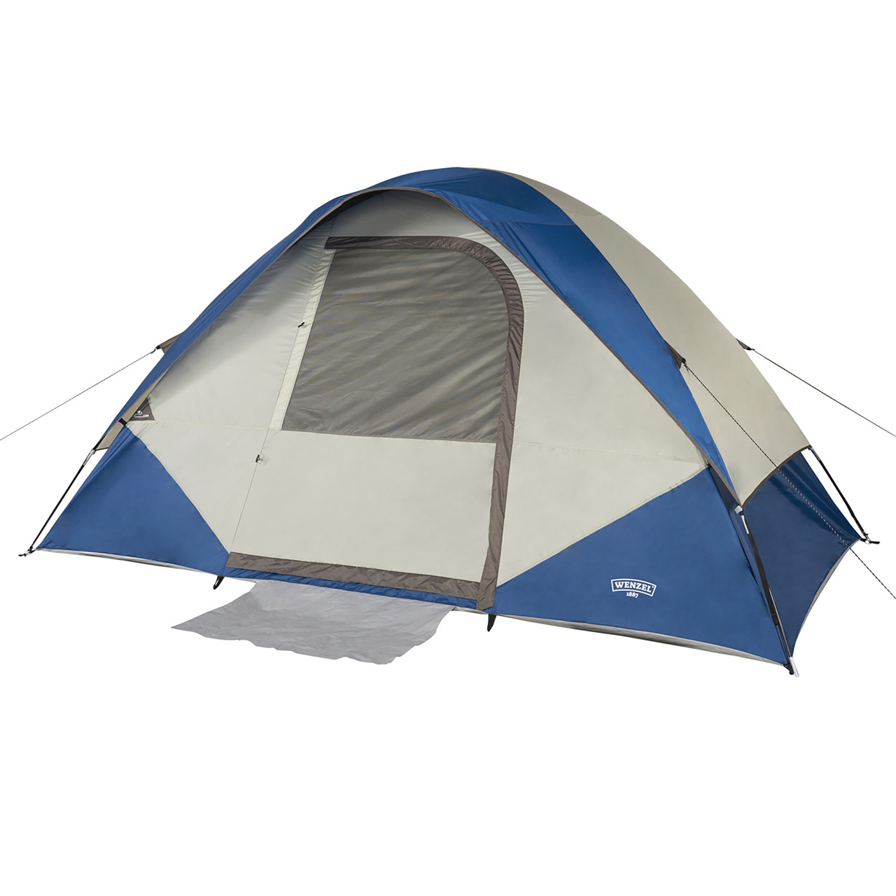 Wenzel Tamarack 6 Person Dome Tent, blue/white, shown with fly attached and front window closed
