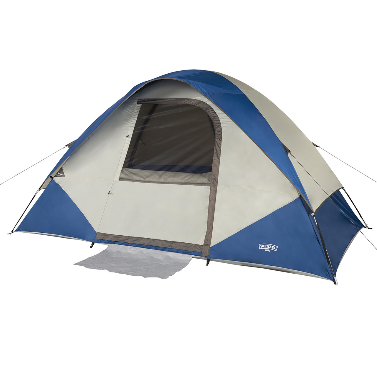 Wenzel Tamarack 6 Person Dome Tent, blue/white, shown with fly attached and front window opened
