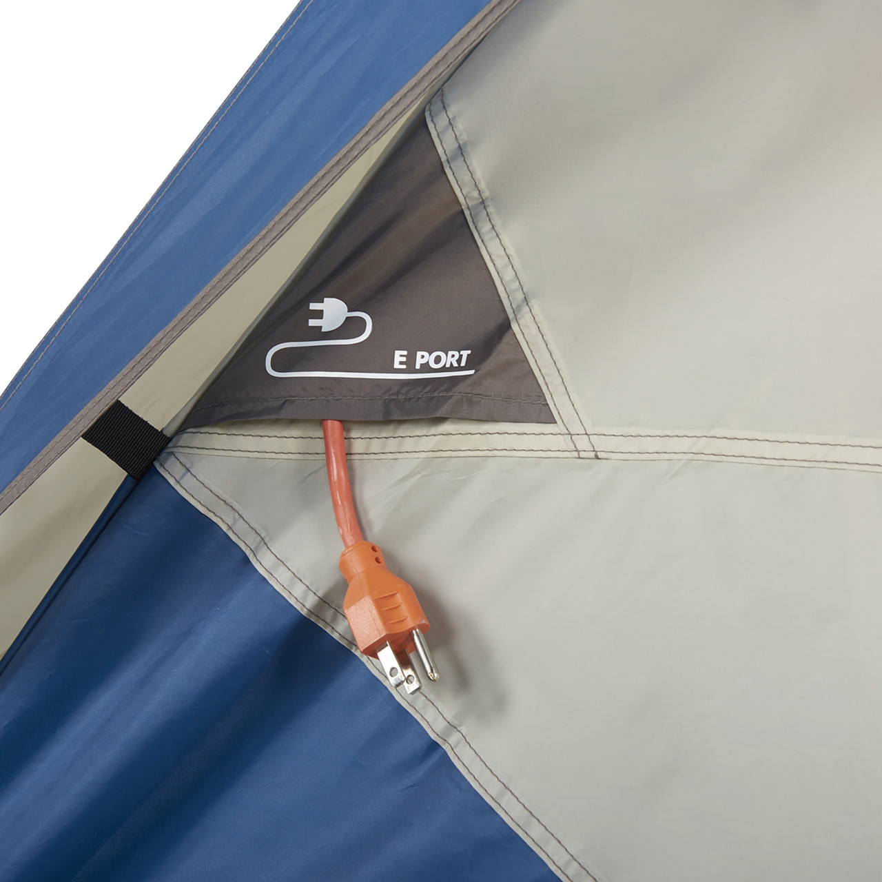 Interior close up of Wenzel Tamarack 6 Person Dome Tent, showing port for cords