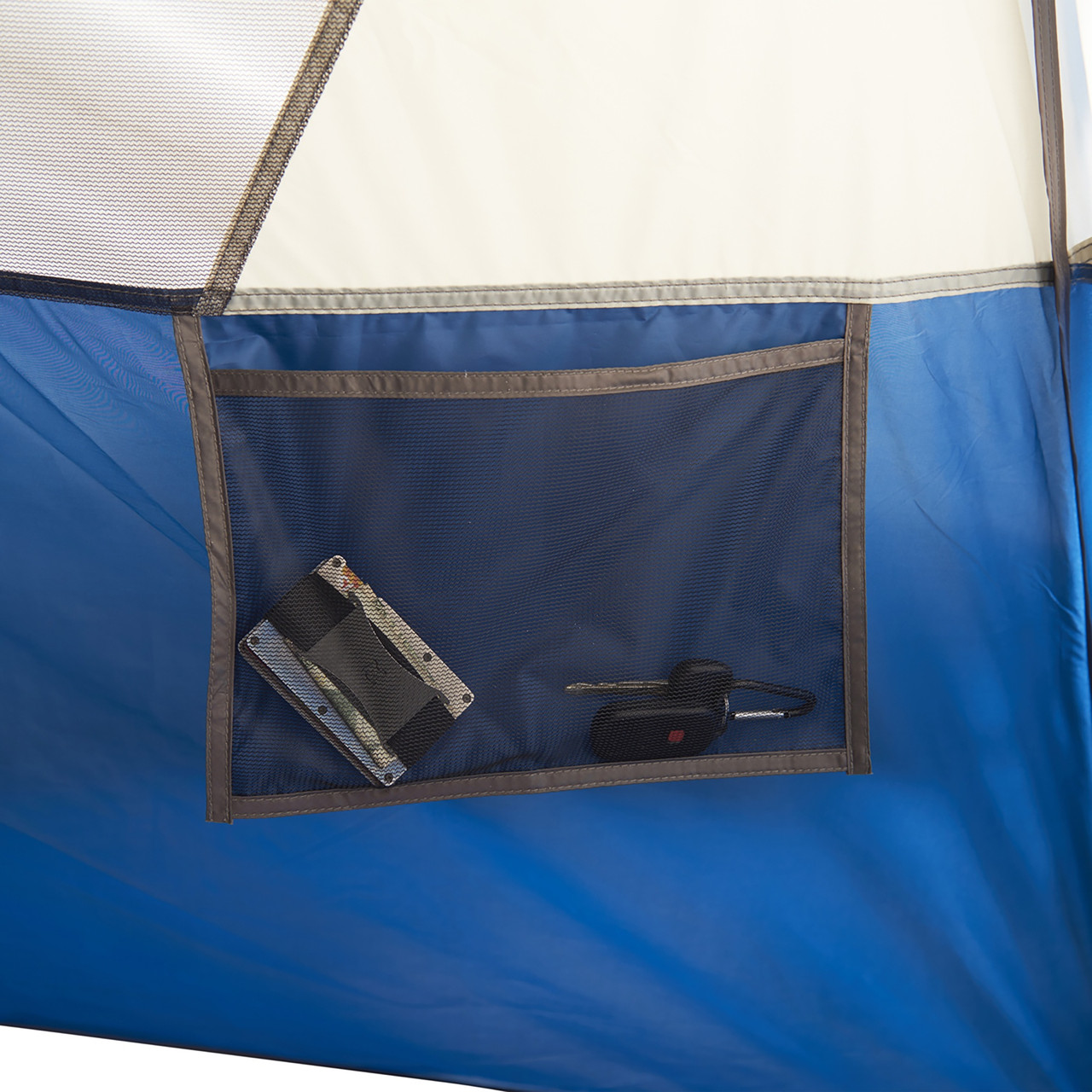 Interior close up of Wenzel Tamarack 6 Person Dome Tent, showing small hanging mesh pocket