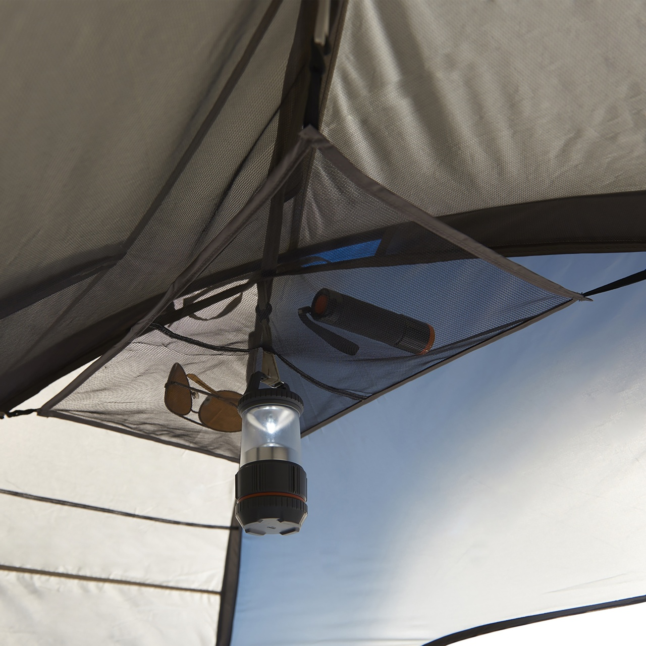 Interior close up of Wenzel Tamarack 6 Person Dome Tent, showing gear loft