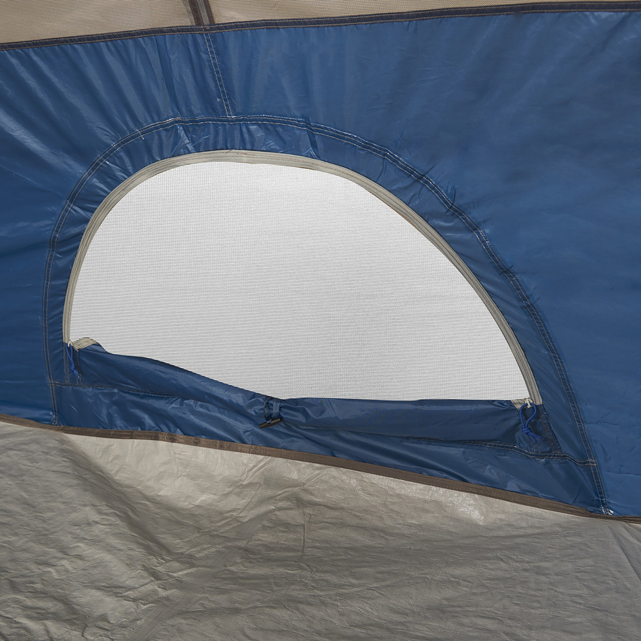 Interior close up of Wenzel Tamarack 6 Person Dome Tent, showing window opening