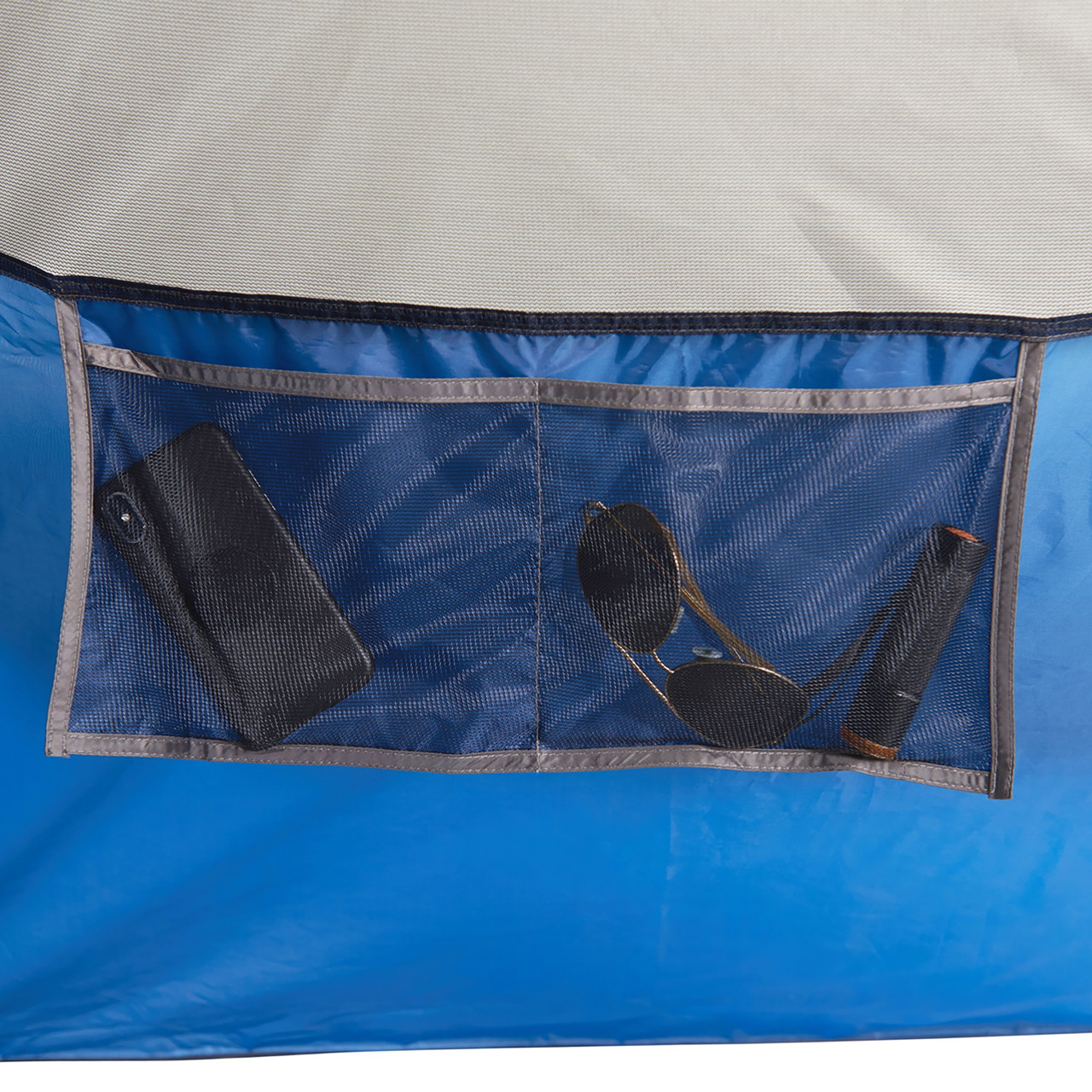 Interior close up of Wenzel Tamarack 6 Person Dome Tent, showing large hanging mesh pocket