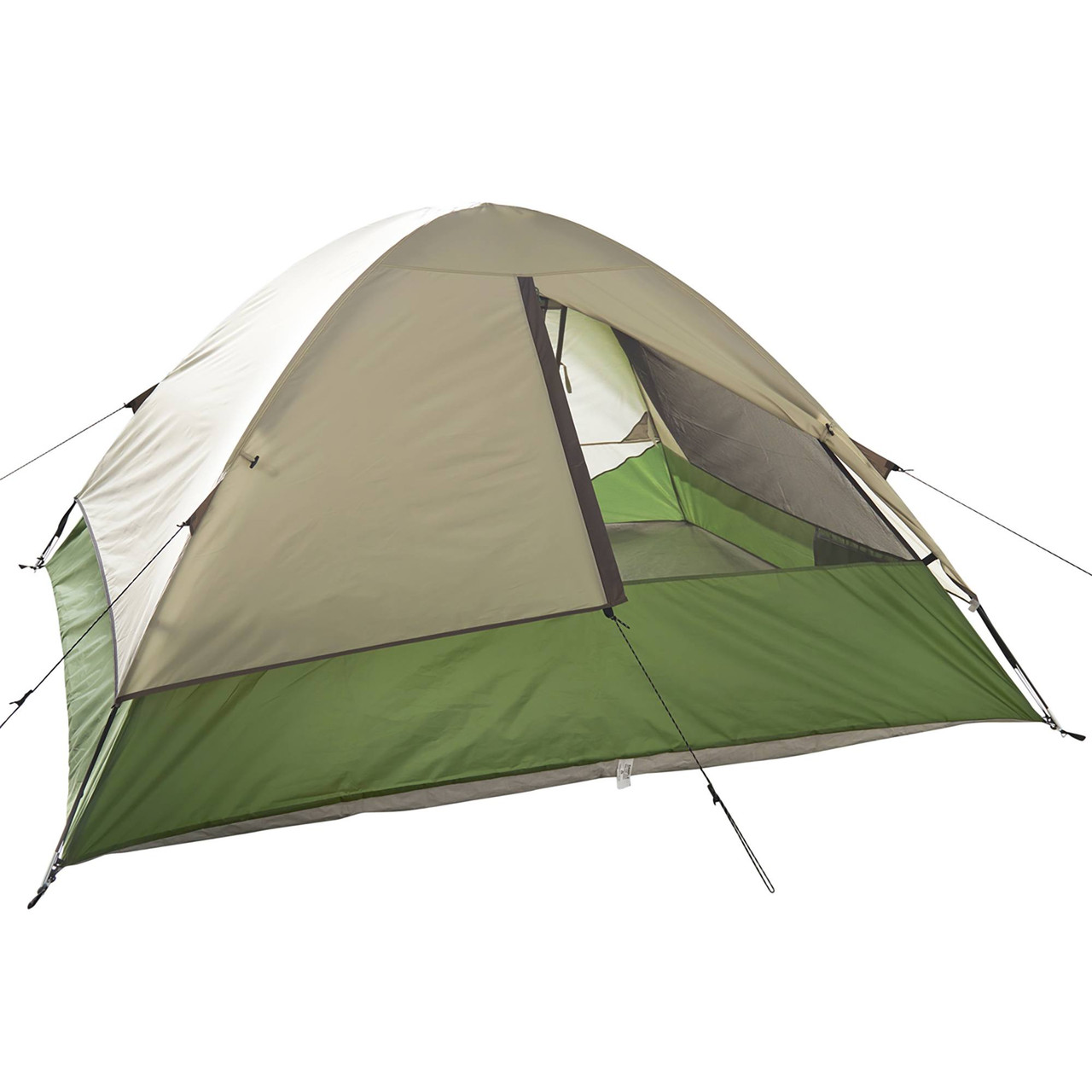 Wenzel Jack Pine 4 Person Dome Tent, green/white, rear view, with window partially closed