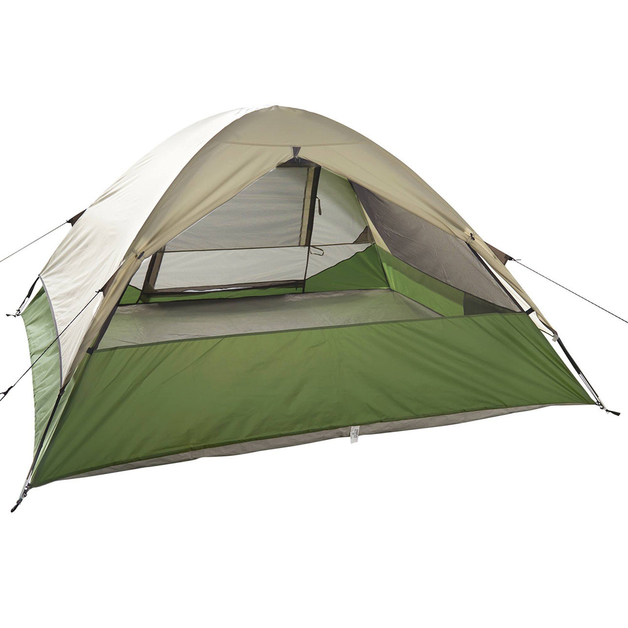 Wenzel Jack Pine 4 Person Dome Tent, green/white, rear view, with window opened