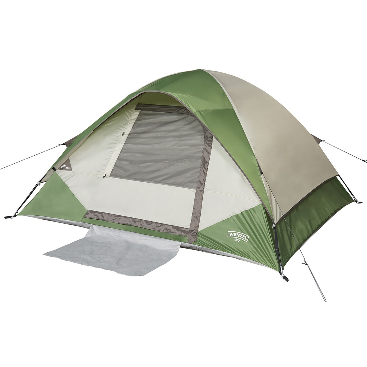 Wenzel Jack Pine 4 Person Dome Tent, green/white, front view, with fly attached