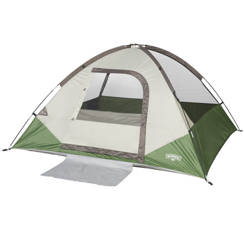 Wenzel Jack Pine 4 Person Dome Tent, green/white, front view, with no fly
