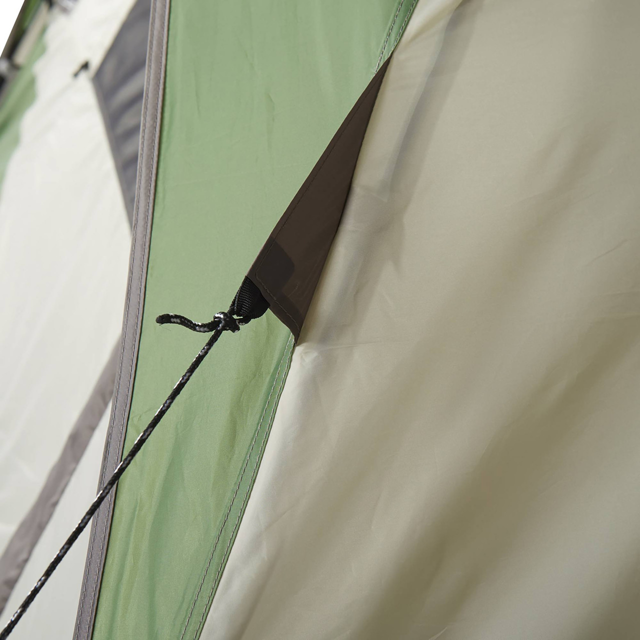 Close up of Wenzel Jack Pine 4 Person Dome Tent, showing guyline attachment point