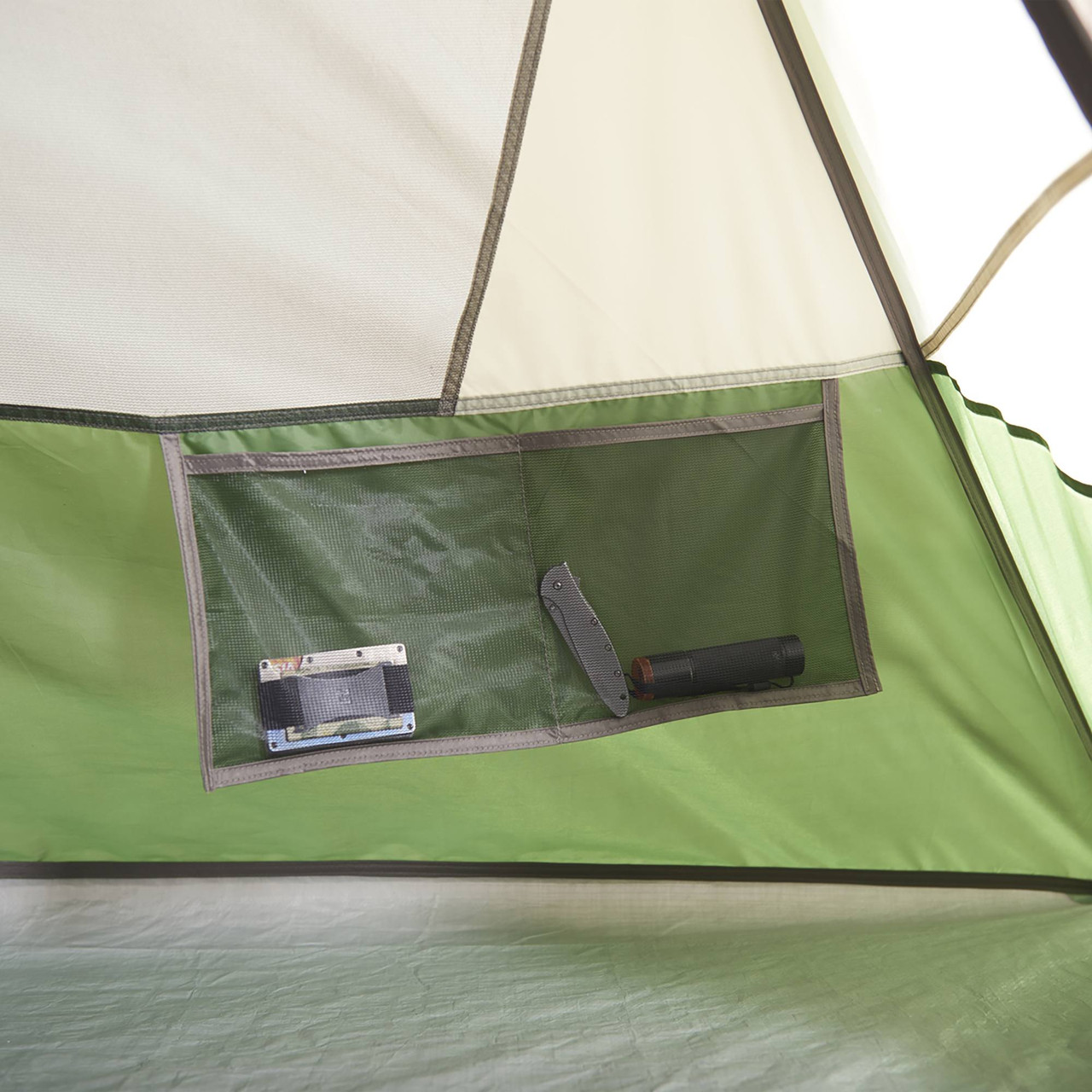 Interior close up of Wenzel Jack Pine 4 Person Dome Tent, showing hanging mesh pocket