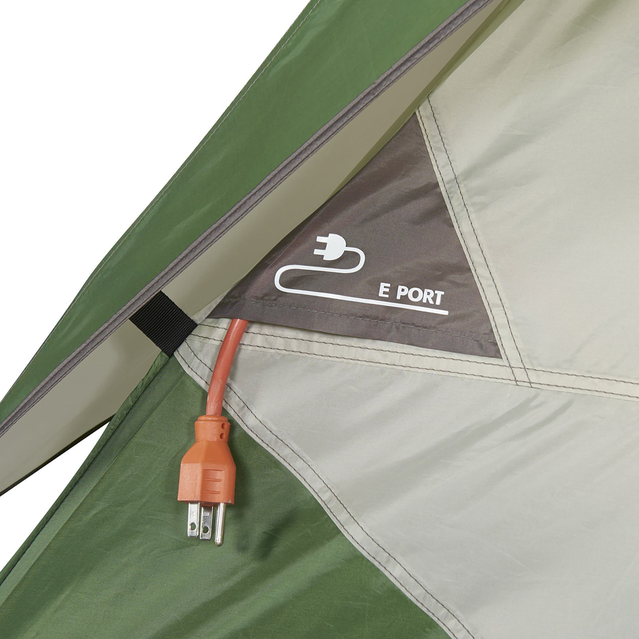 Close up of Wenzel Jack Pine 4 Person Dome Tent, showing port for electric cords