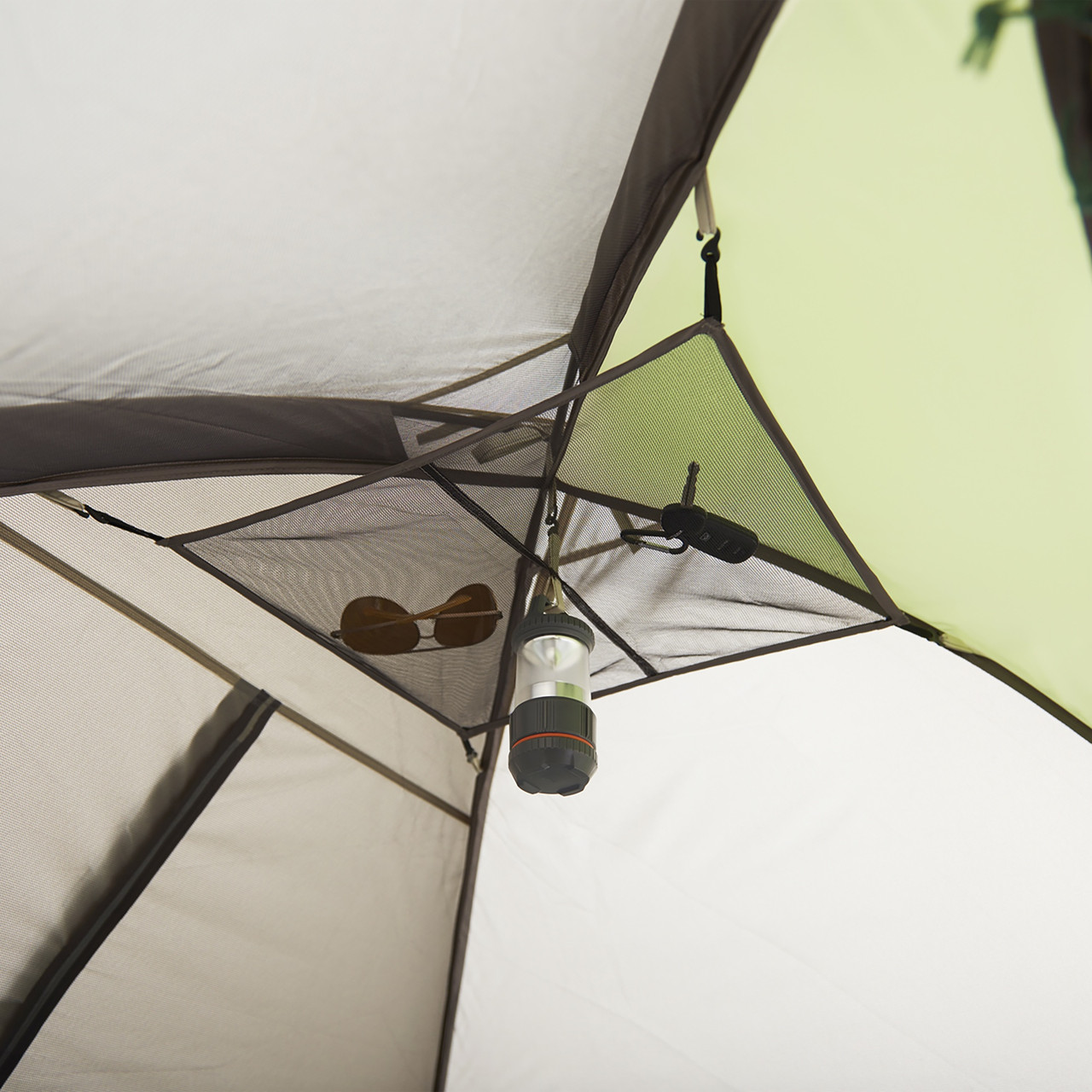 Interior close up of Wenzel Jack Pine 4 Person Dome Tent, showing mesh gear loft