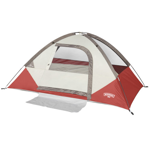 Wenzel Torry 2 Person Dome Tent, red/white, front view, with no fly