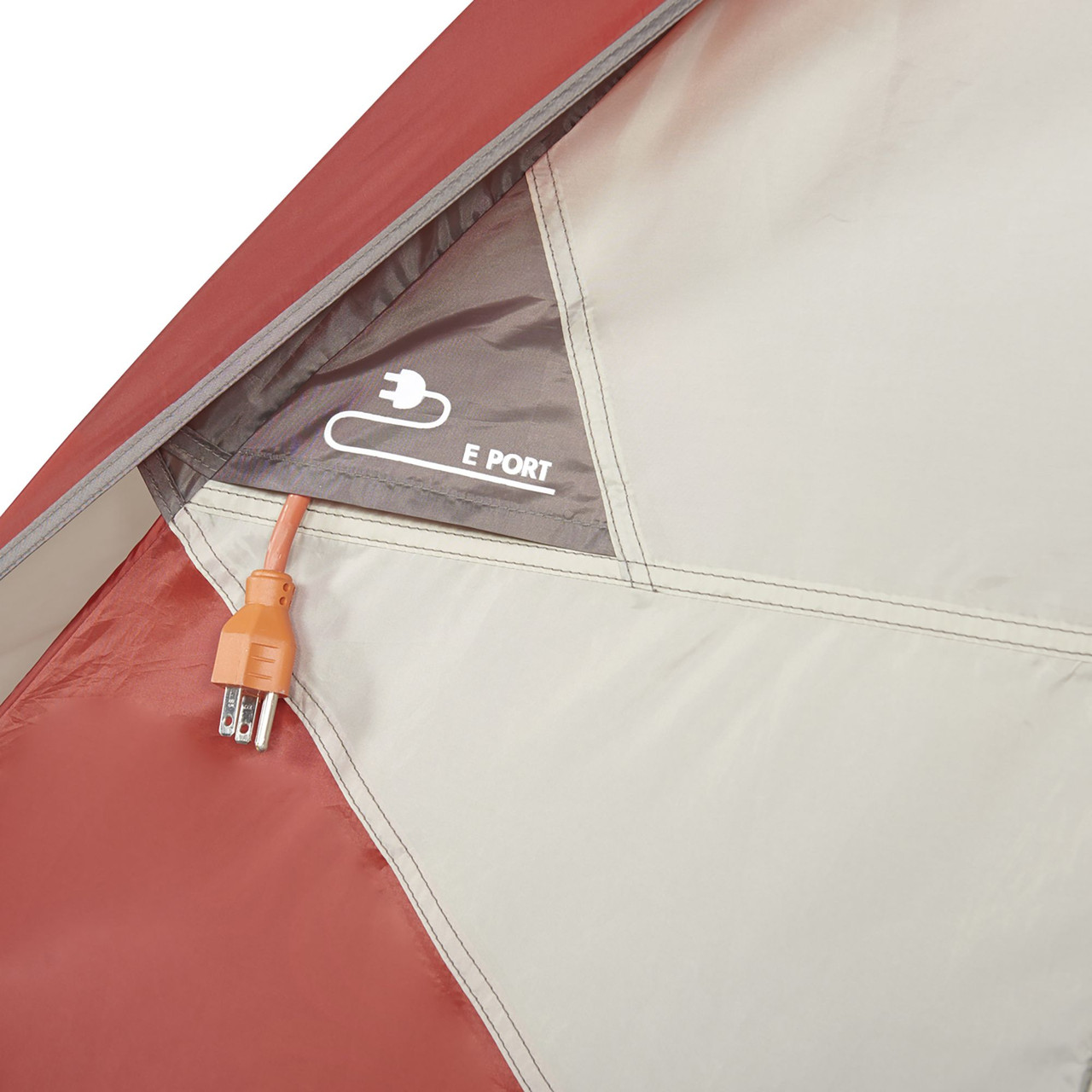 Close up of Wenzel Torry 2 Person Dome Tent, showing port for cords