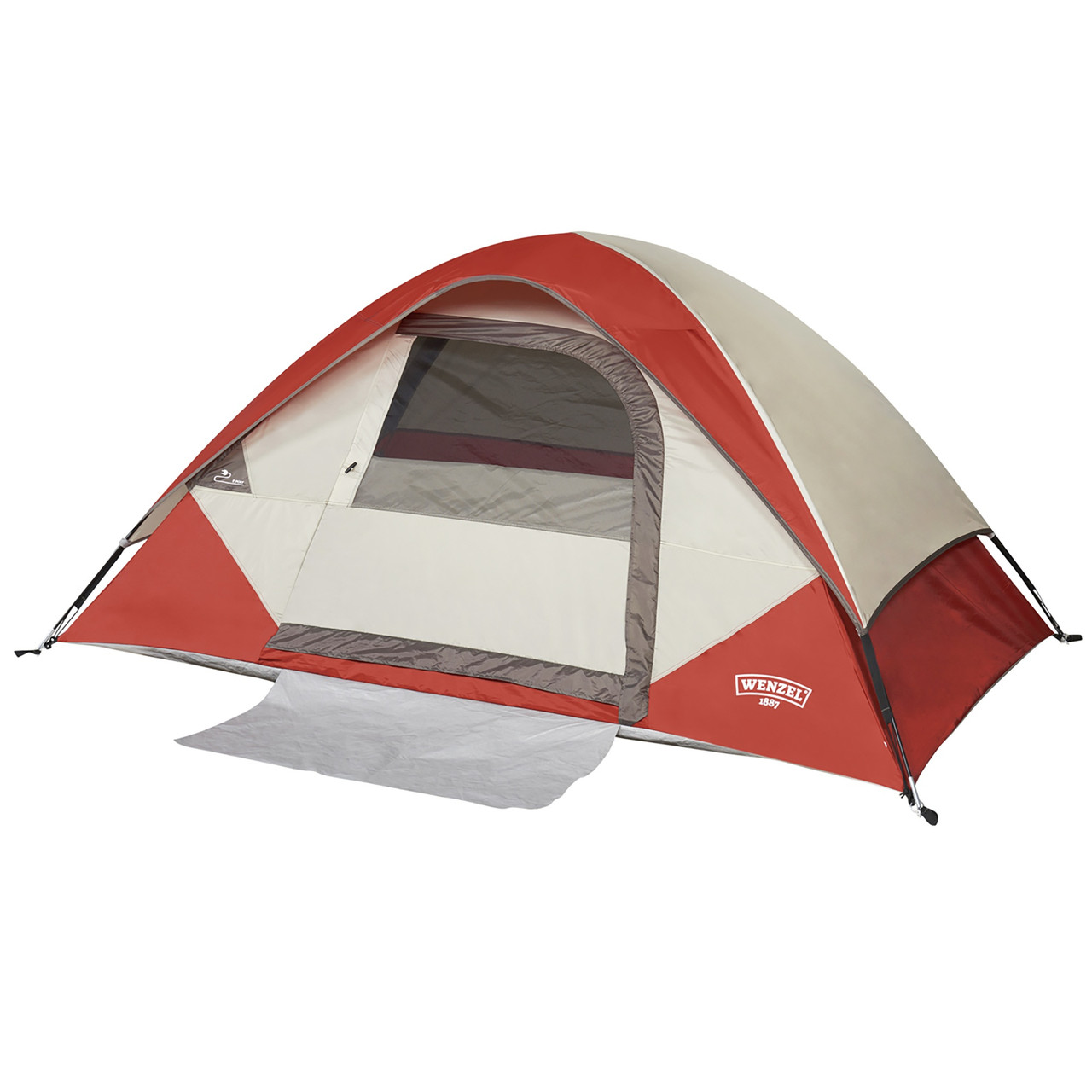 Wenzel Torry 2 Person Dome Tent, red/white, front view, with fly attached