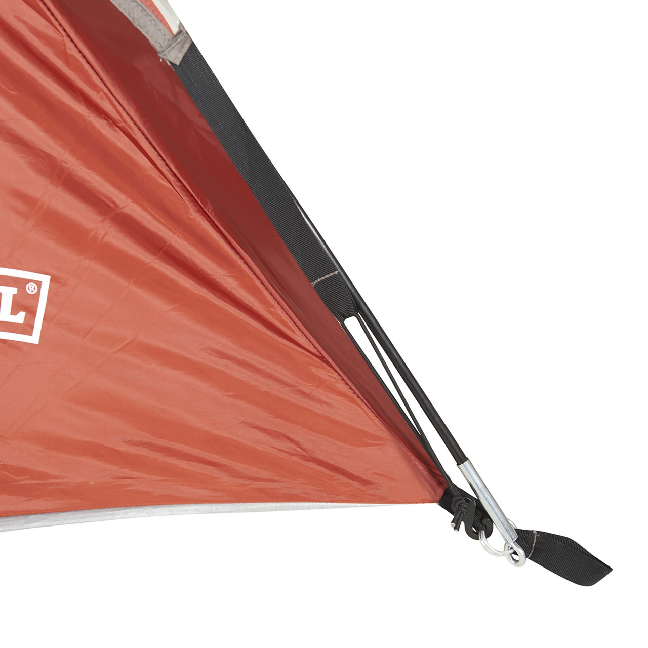 Close up of Wenzel Torry 2 Person Dome Tent, showing end of tent pole inserted into attachment point at bottom corner of tent