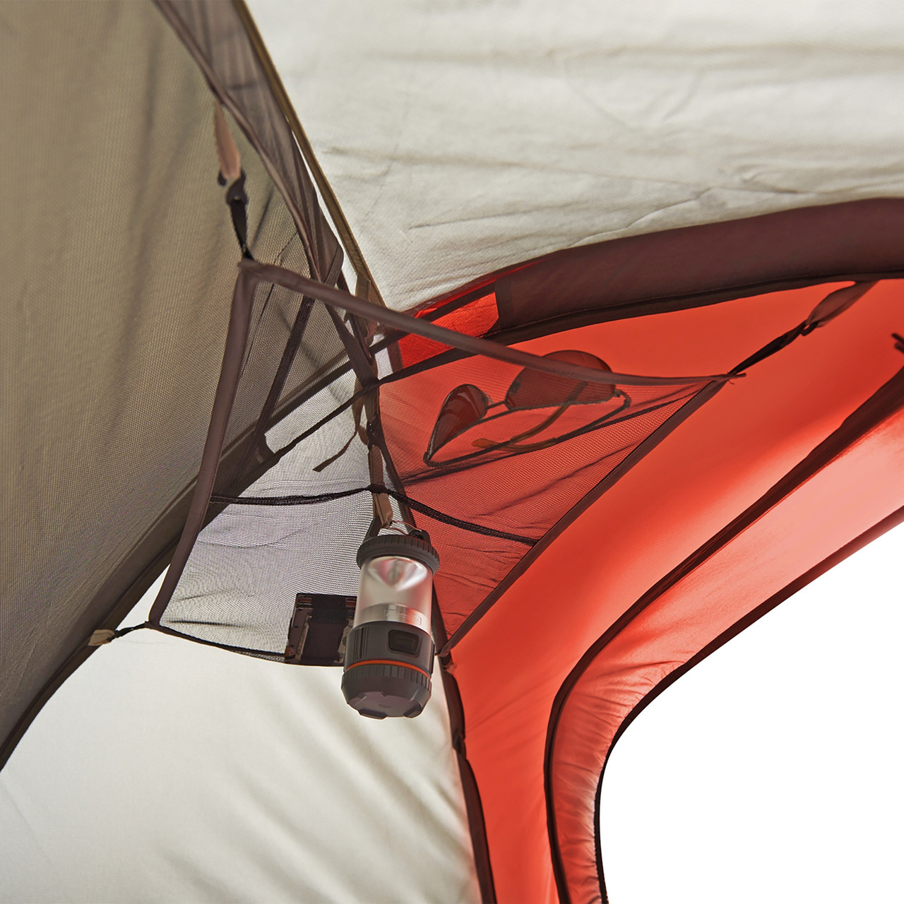 Interior close up of Wenzel Torry 2 Person Dome Tent, showing gear loft