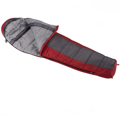Wenzel Windy Pass Mummy 0 degree sleeping bag, blue and red, laying flat with the corner partially unzipped and folded over showing the gray interior of the sleeping bag