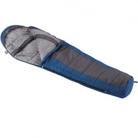 Wenzel Santa Fe Mummy 20 degree sleeping bag, blue and gray, laying flat with the corner partially unzipped and folded over showing the gray interior of the sleeping bag